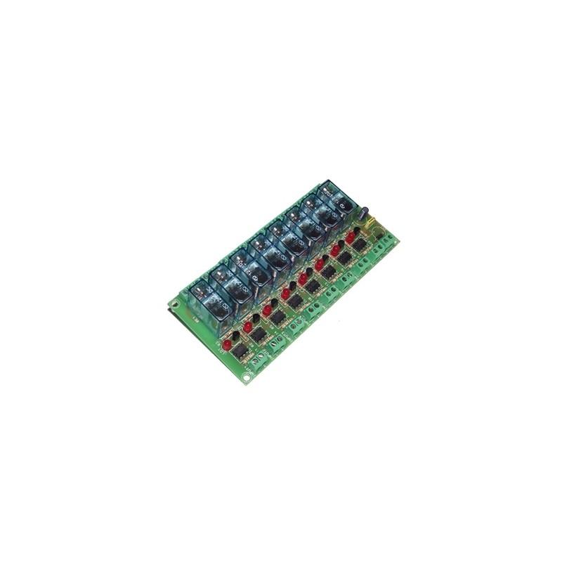 Interface optocoplados a 8 relés 12VCC 1 contacto