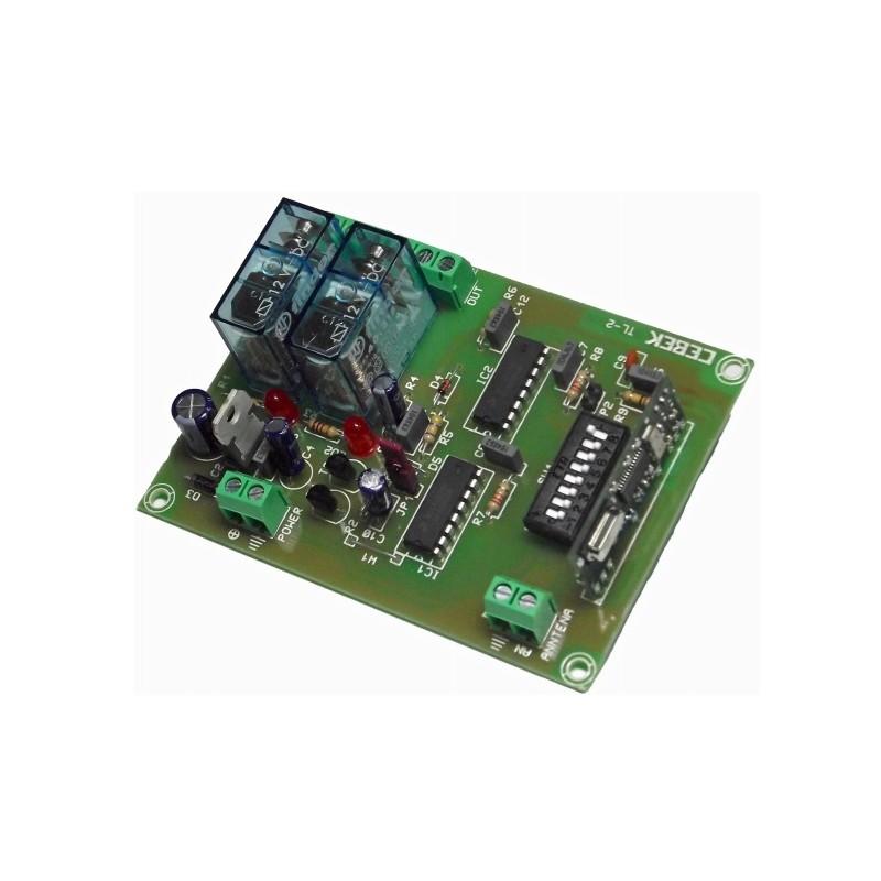 Telemando receptor R.F.2 canales monoestable 12V CC