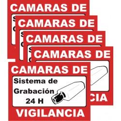 Minicartel vinilo autoadesivo sistema de vigilancia 6x8.5cm