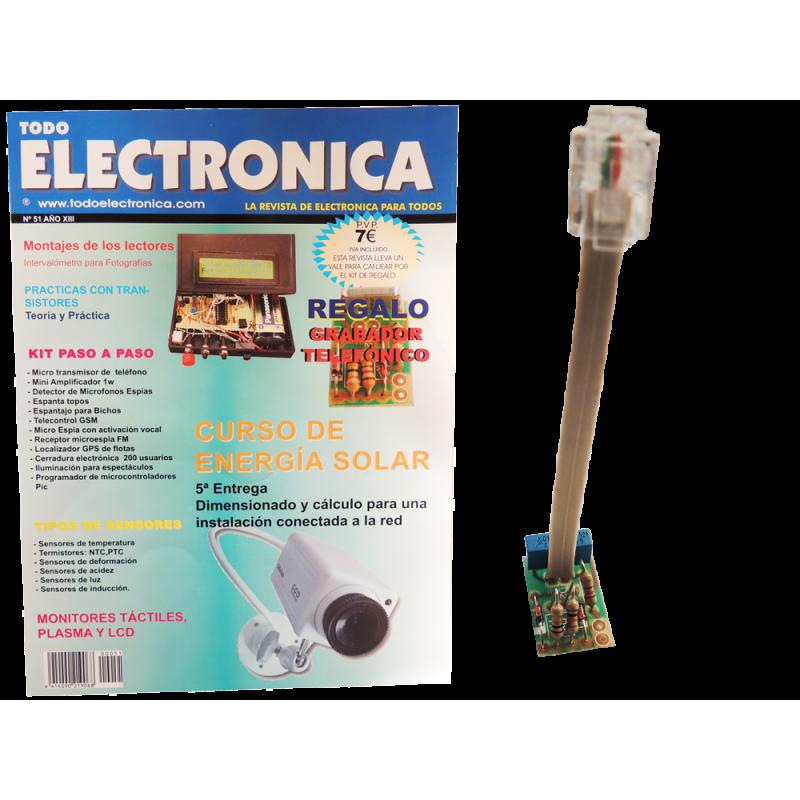Revista Todoelectronica Nº51 + Kit electrónico para montar: Grabador telefónico
