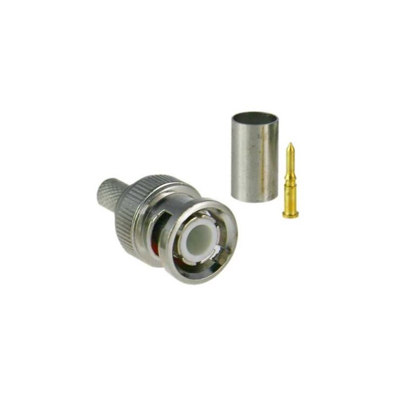 Conector BNC Macho para crimpar compatible con los cables de tipo RG59
