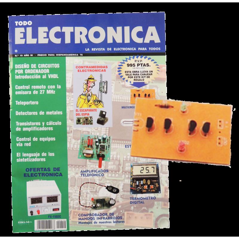 Kit electronico para montar, multicircuito fotosensible + revista todoelectronic