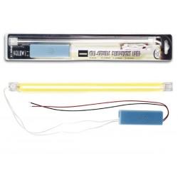 Tubo fluorescente de cátodo frío con alimentación. Amarillo y de 30 cm