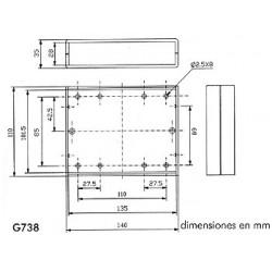 Caja ignifuga - tapa gris claro con paneles traseros negros 140 x 110 35mm