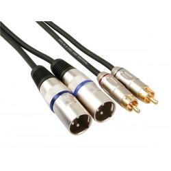 2 x conector xlr macho de 3 polos a 2 x rca macho, 1m