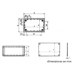 "Caja de plÁstico modelo ""optative"" - azul petrÓleo 85 x 56 x 35.5mm"