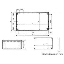 "Caja de plÁstico modelo ""optative"" - azul petrÓleo 215 x 130 x 77mm"