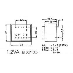 Transformador encapsulado 1.2va 1 x 12v / 1 x 0.100a