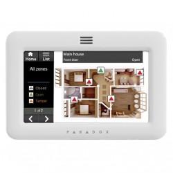 Teclado TM50 Paradox Grado III para alarmas cableadas con pantalla táctil y con sensores de temp/hu