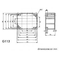 Caja con paneles frontales. 120 x 60 x 30 mm