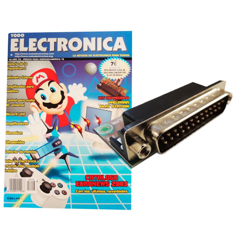 Kit electrónico para montar: PAD para Play Station + Revista Todoelectronica Nº28