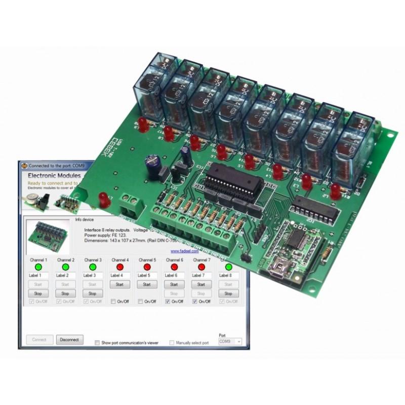 Interface USB con salidas de 8 relés
