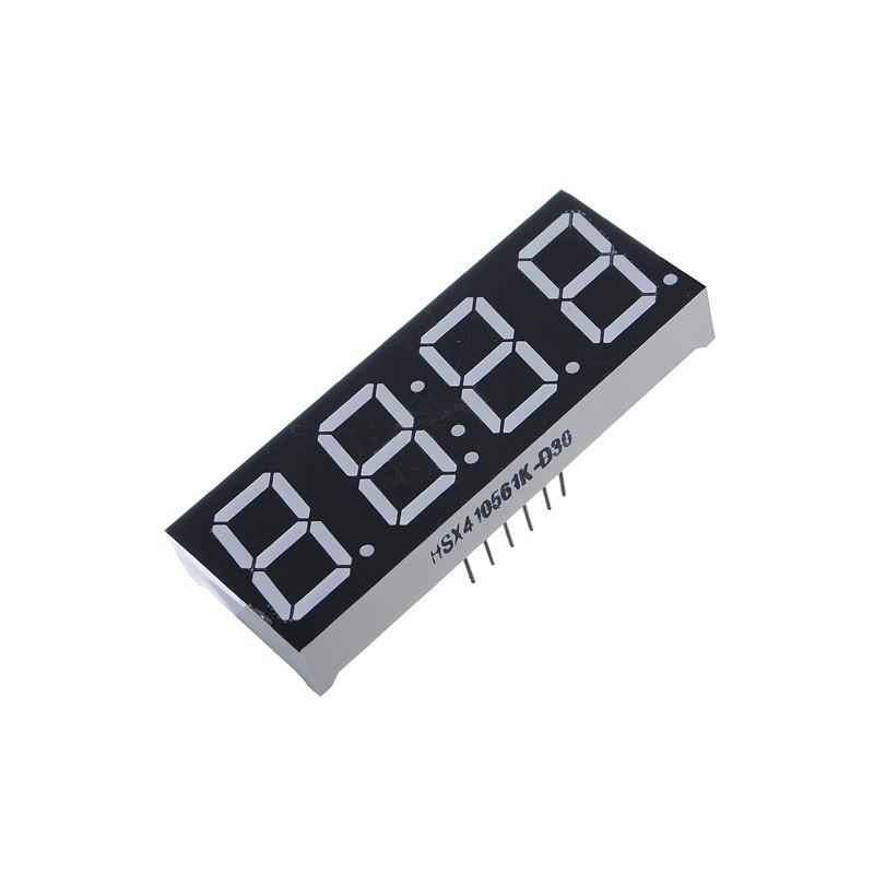 LED display 4x7 seg. Tipo reloj, ánodo común 0.56''