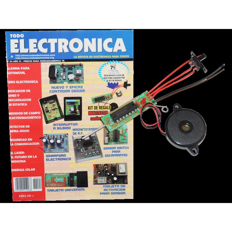 Revista Todoelectronica Nº24 + Kit electrónico Multitester, detector de continuidad y tensiones