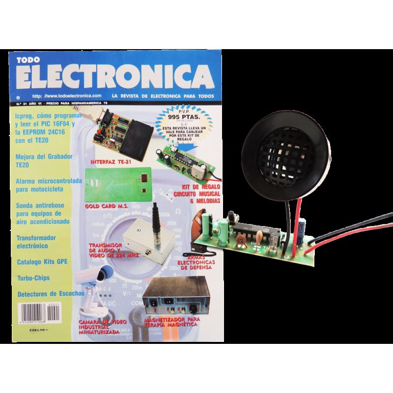 Revista Todoelectronica Nº21 + Kit electrónico Circuito musical 6 melodías