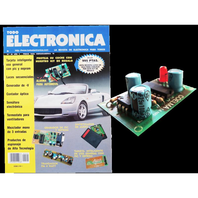 Revista Todoelectronica Nº20 + Kit electrónico Alarma para automóvil