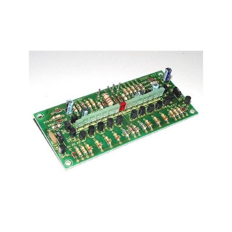 Kit electrónico para montar un vúmetro estéreo con 15 diodos LED 100 W