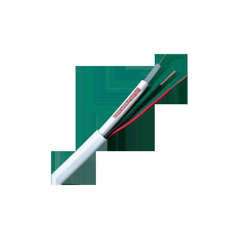 Bobina de cable combinado RG59 y 2 cables de alimentación 100 m blanco