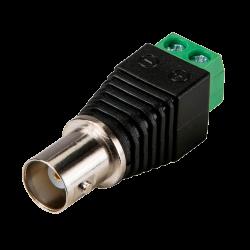 Conector BNC hembra con salida +/- de 2 terminales. Válido para CCTV