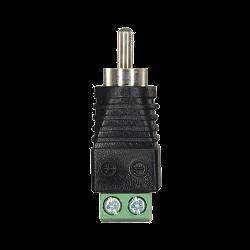 Conector RCA macho salida +/ de 2 terminales para instalaciones de CCTV
