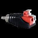 Conector RCA macho salida +/- de 2 terminales. Fácil conexión