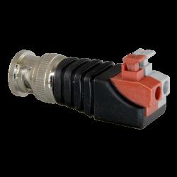 Conector BNC macho salida +/- de 2 terminales y con fácil conexionado