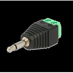Conector Jack 3.5 mm Mono con salida +/- de 2 terminales. Cámaras CCTV
