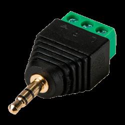 Conector Jack de 3.5 mm tipo Estéreo con Salida +/- para 2 Terminales