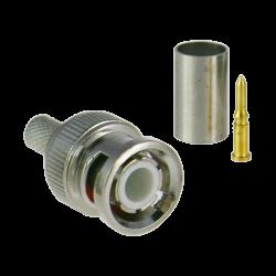 Conector BNC macho para crimpar, compatible con el cable RG59 y HD-SDI