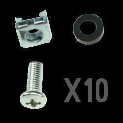 Tornillería válida para armarios rack - 10 x tornillo | tuerca | separador