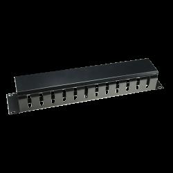 Organizador de cables apto para armarios rack de hasta 1U color negro