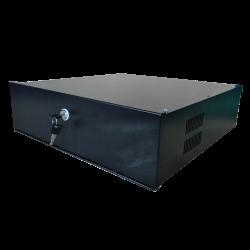 Caja metálica cerrada para DVR de CCTV de hasta 4U rack con cerradura de leva