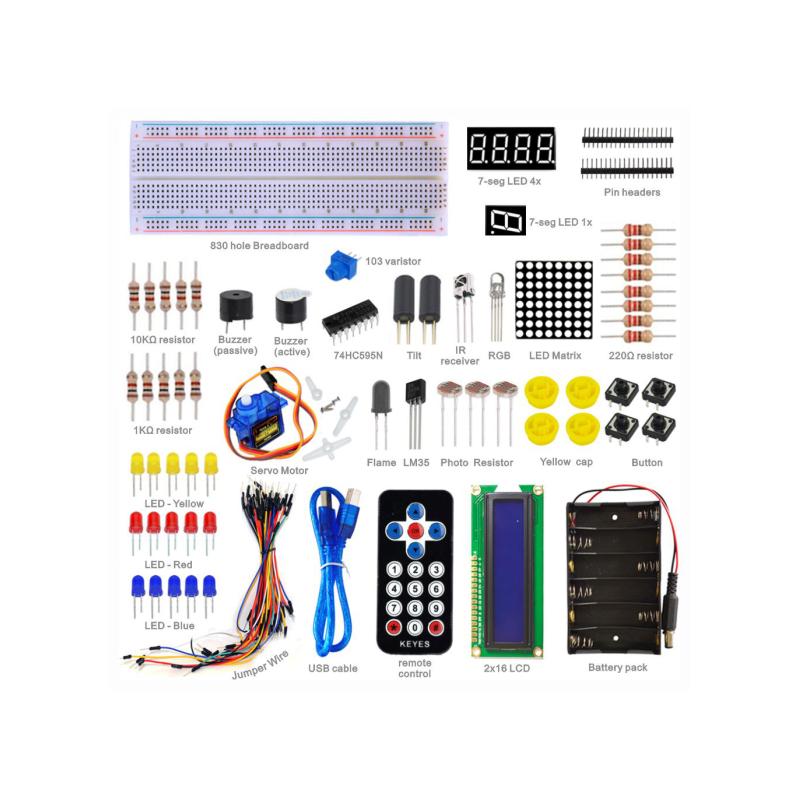 Kit básico de aprendizaje con Arduino Compatible UNO R3 y 21 proyectos