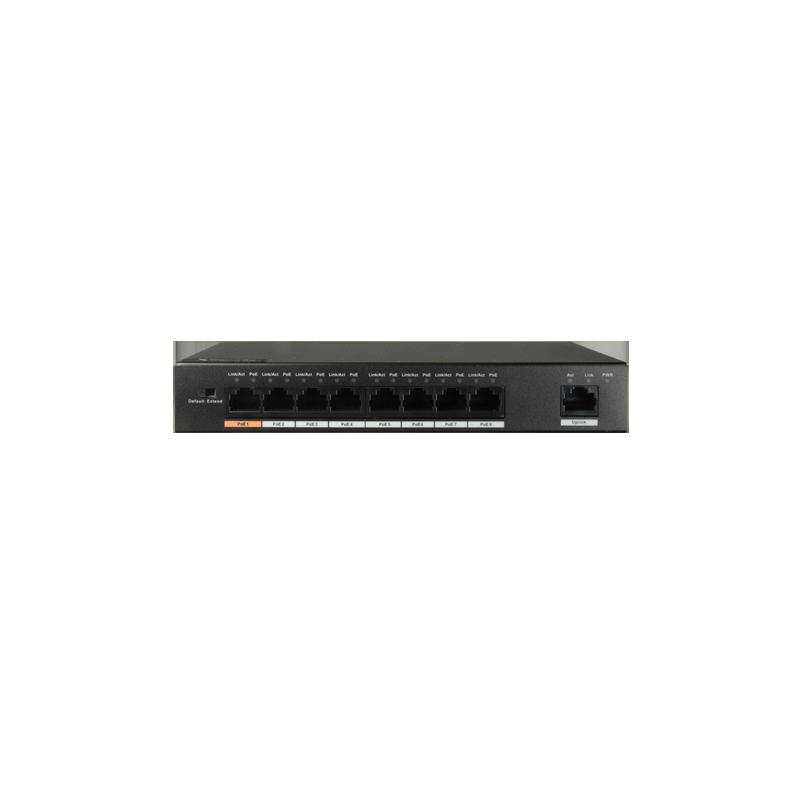 Switch PoE de sobremesa con 8 puertos PoE + 1 Uplink 10/100 Mbps y 96W