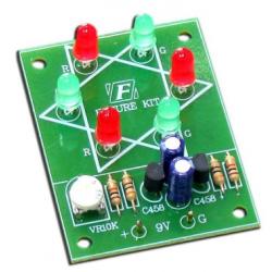 Kit electrónico para montar un circuito de triángulo 6 LEDs de 2 Pasos