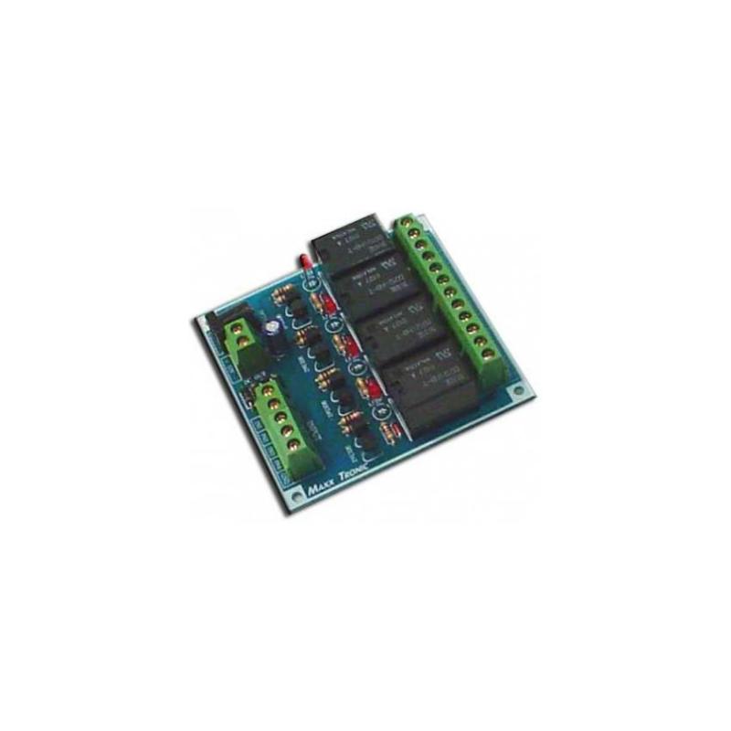 Tarjeta de transmisión 4 canales con 4 relay de salida y LED indicador