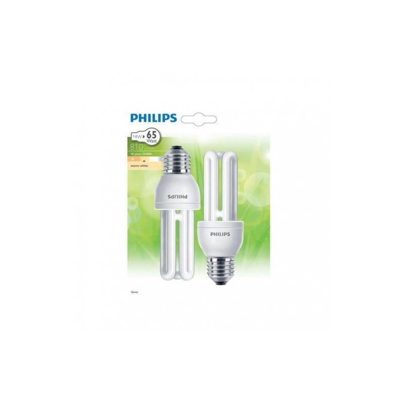 Pack de 2 Bombillas De Bajo Consumo  Philips Genie 14W E27 Luz Cálida