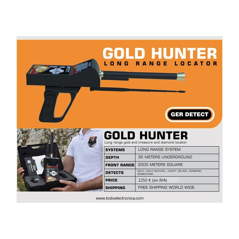 Detector de oro, tesoros y diamantes de largo alcance Gold Hunter PLUS
