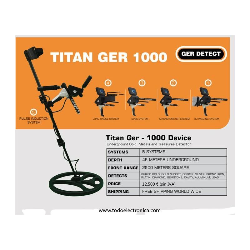 Detector Profesional de oro, metales, Gemas y tesoros Titan Ger 1000 (5 sistemas de búsqueda)