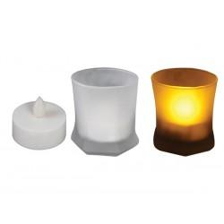 Vela led tradicional y soporte de vidrio blanco Dimensiones 77 x 88 mm