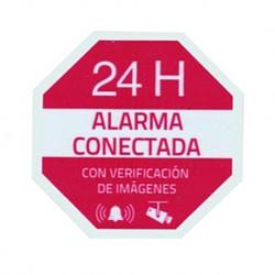 Pegatina de plastico serigrafia alarma conectada para uso exterior/interior