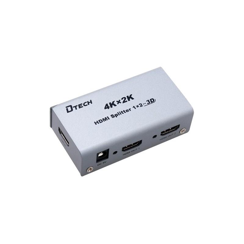 Multiplicador de señal HDMI 4K con 1 entrada y 2 salidas hasta 25m