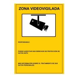 Placa plastica interior/exterior. Serigrafia Zona Videovigilada, homologada segu