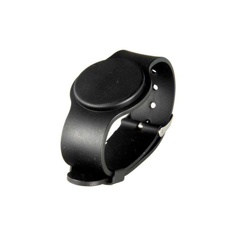 Pulsera de proximidad RFID EM de color negro con correa ajustable.