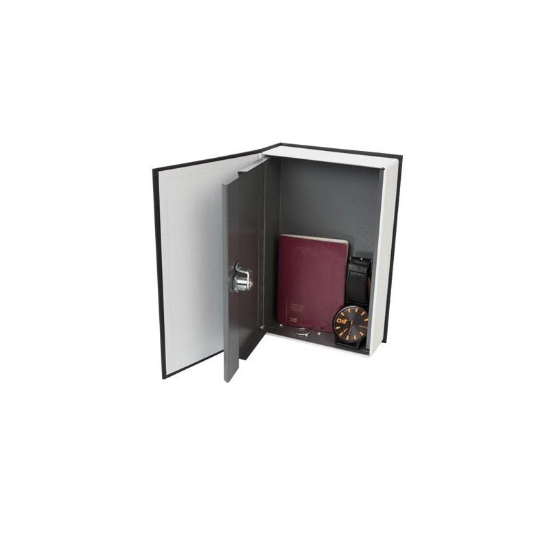 Caja fuerte con forma de libro. Carcasa de metal y cerradura de llave