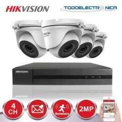 Kit de vigilancia Hikvision: 4 cámaras domo de 2mpx/2.8 mm + grabador