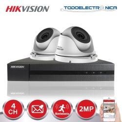 Kit de vigilancia Hikvision: 2 cámaras domo de 2mpx/2.8 mm + grabador