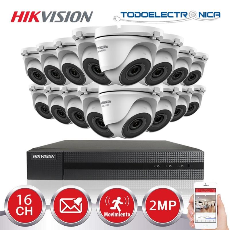 Kit de vigilancia Hikvision: 16 cámaras domo de 2mpx/2.8 mm + grabador