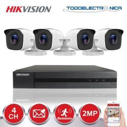 Kit de vigilancia Hikvision: grabador + 4 cámaras de 2 mpx y 2.8mm