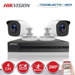 Kit de 2 cámaras de vigilancia Hikvision de 2 mpx y 2.8mm con grabador